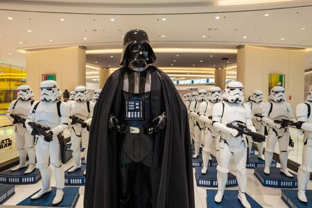 DUBAI, UAE - FEBRUARY 25, 2019: Star Wars character Darth Vader and Stormtroopers in Dubai Mall in UAE