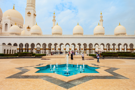 Sheikh Zayed Grand Mosque is the largest mosque of UAE, located in Abu Dhabi the capital city of the United Arab Emirates 新聞圖片