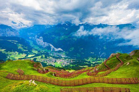Avalanche barriers and Lauterbrunnen valley panoramic view, Bernese Oberland near Interlaken city in Switzerland