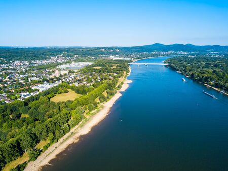 Rhine river aerial panoramic view in Bonn city in Germany