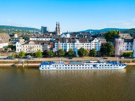 Koblenz old town aerial panoramic view. Koblenz is a city on the Rhine where it is joined by Moselle river.