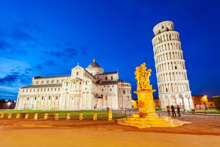 Pisa Leaning Tower and Pisa Cathedral at Piazza dei Miracoli or Square of Miracles in Pisa, Italy Stock fotó