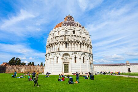 The Baptistery of Pisa Leaning Tower at the Piazza dei Miracoli or the Square of Miracles in Pisa, Italy Stock fotó