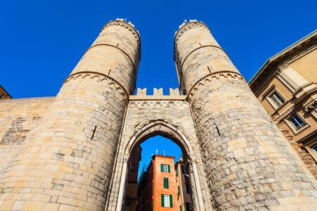 The Porta Soprana Gate was one of the entrance gates to the city of Genoa in Liguria region in Italy Stock fotó