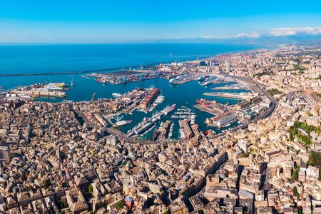 Genoa port aerial panoramic view. Genoa or Genova is the capital of Liguria region in Italy.