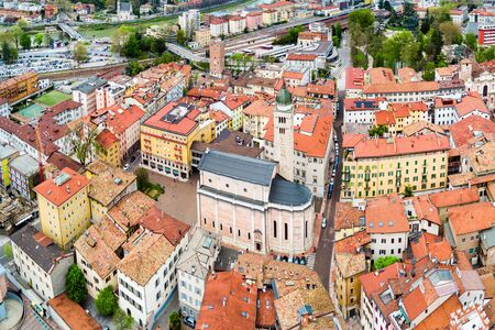 Trento Cathedral or Duomo di Trento aerial panoramic view. Duomo is a roman Catholic cathedral in Trento city in Trentino Alto Adige in Italy.