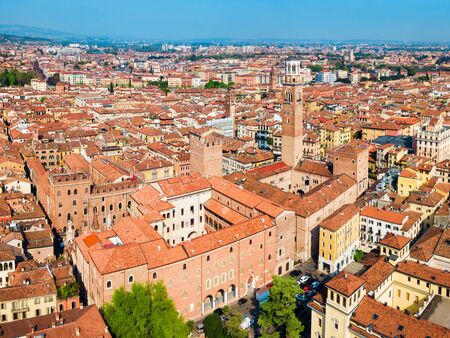 Torre dei Lamberti aerial panoramic view. Torre Lamberti is tower in Piazza delle Erbe square in Verona, Veneto region in Italy.