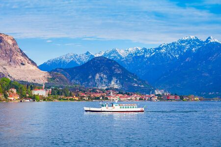 Boat to the Isola Bella from the Stresa town. Isola Bella is one of the Borromean Islands of Lago Maggiore in north Italy.