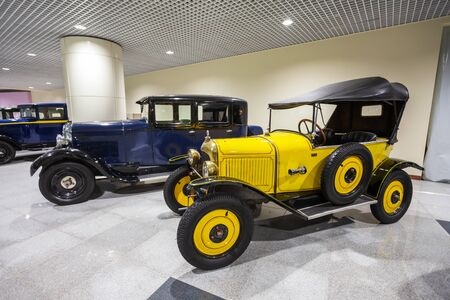MOSCOW, RUSSIA - APRIL 06, 2019: Citroen Type C 5HP Torpedo and other vintage cars at the public free of charge exhibition at the Moscow Domodedovo Airport
