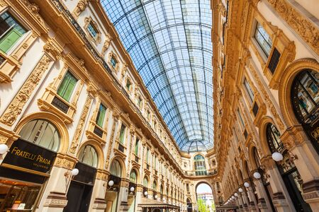 MILAN, ITALY - APRIL 09, 2019: The Galleria Vittorio Emanuele II is an oldest active shopping mall and a major landmark of Milan in Italy