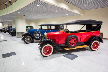 MOSCOW, RUSSIA - APRIL 06, 2019: Fiat Valencia 505 and Lorraine-Dietrich vintage cars at the free of charge exhibition at the Moscow Domodedovo Airport