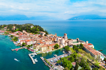 Scaligero Castle aerial panoramic view. Scaligero Castle is a fortress in the historical center of Sirmione town at the Garda Lake in Italy
