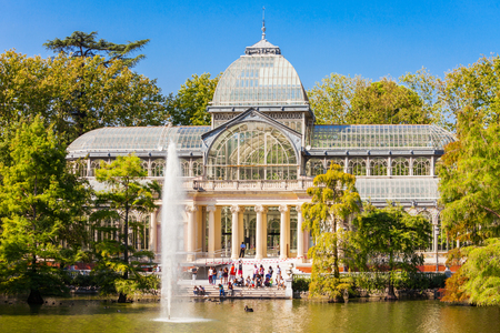 Crystal Palace or Palacio de Cristalis in the Buen Retiro Park, one of the largest parks of Madrid city, Spain. Madrid is the capital of Spain.