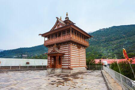 Maa Chandika Devi Ji Kila Temple in Kalpa. Kalpa is a town in the Sutlej river valley, Himachal Pradesh in India Banco de Imagens