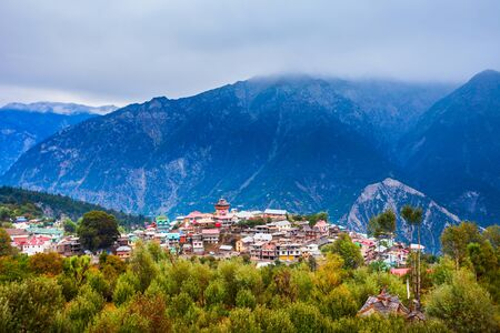 Kalpa and Kinnaur Kailash mountain aerial panoramic view. Kalpa is a small town in the Sutlej river valley, Himachal Pradesh in India Imagens