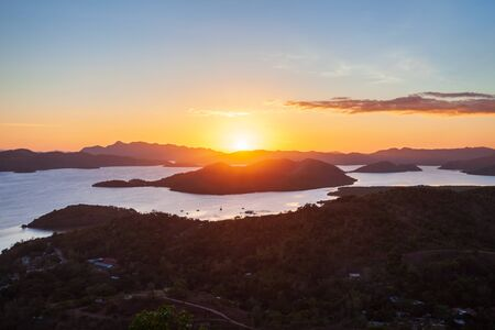 Coron town aerial panoramic view at sunset, Busuanga island in Palawan province in Philippines
