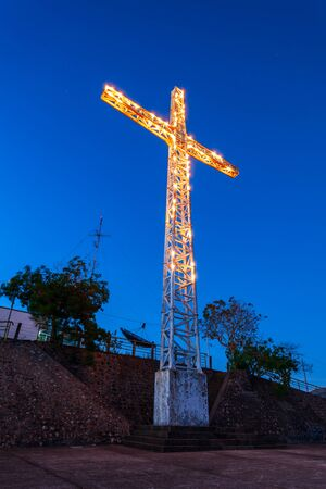 The cross on the Mount Tapyas summit in Coron town, Busuanga island in Palawan province in Philippines