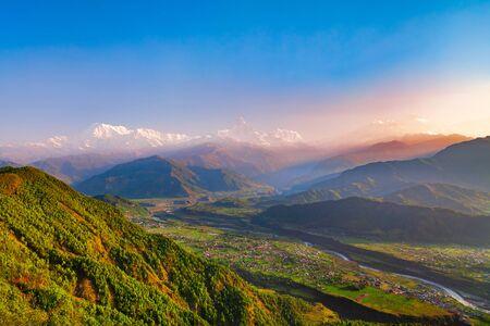Annapurna massif aerial panoramic view from Sarangkot hill viewpoint in Himalayas mountain range in Pokhara, Nepal Reklamní fotografie