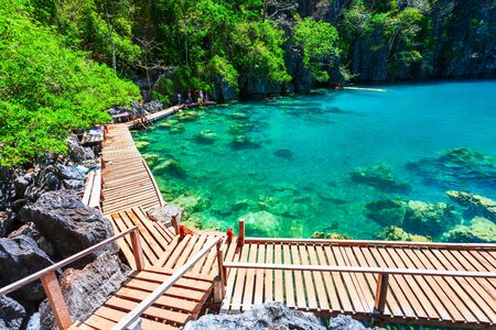 Kayangan Lake tropical landscape at the Coron island in Palawan province in Philippines Stockfoto