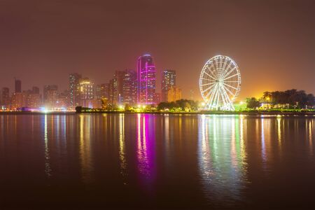 Sharjah city centre skyline in United Arab Emirates or UAE