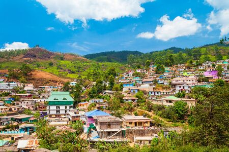 Landscape of Munnar town, surrounded with tea plantation in India