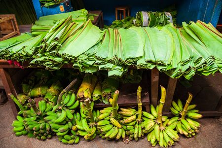 Bananas and their leaves at the local market in India Stockfoto