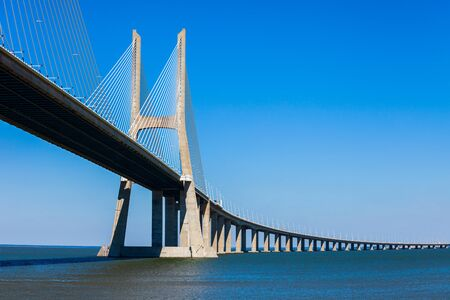 The Vasco da Gama Bridge is a cable stayed bridge that spans the Tagus River in Lisbon city, Portugal