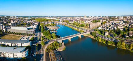 Angers aerial panoramic view. Angers is a city in Loire Valley, western France.