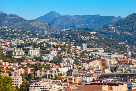 Nice aerial panoramic view. Nice is a city located on the French Riviera or Cote d'Azur in France. Stockfoto