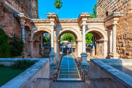 The Hadrians Gate is a triumphal arch located in Antalya city, Turkey Stockfoto