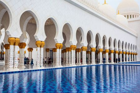 ABU DHABI, UAE - FEBRUARY 28, 2019: Sheikh Zayed Grand Mosque interior, the largest mosque of the United Arab Emirates, located in Abu Dhabi