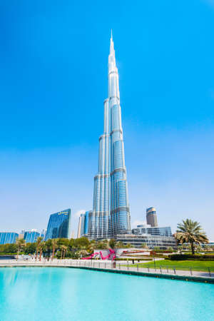 DUBAI, UAE - FEBRUARY 26, 2019: Burj Khalifa or Khalifa Tower is a skyscraper and the tallest building in the world in Dubai, UAE