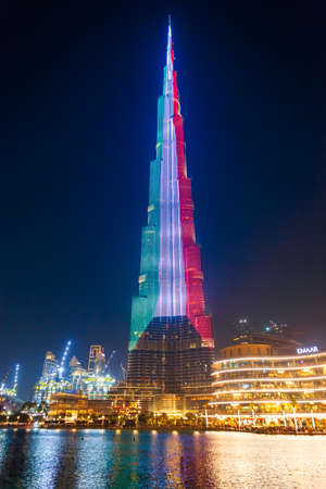 DUBAI, UAE - FEBRUARY 25, 2019: Burj Khalifa or Khalifa Tower is a skyscraper and the tallest building in the world in Dubai, UAE Редакционное