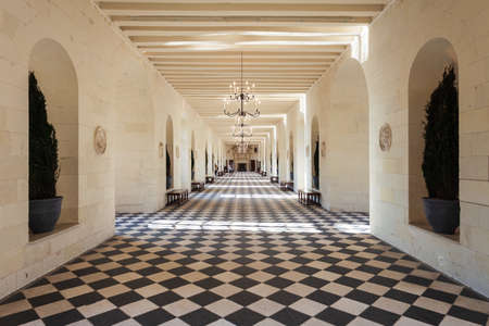 CHENONCEAU, FRANCE - SEPTEMBER 14, 2018: Chateau de Chenonceau interior, french castle near Chenonceaux village, Loire valley in France