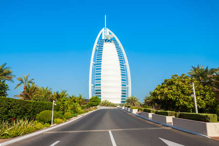 DUBAI, UAE - FEBRUARY 27, 2019: Burj Al Arab luxury hotel in Dubai city in UAE