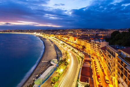 Nice aerial panoramic view. Nice is a city located on the French Riviera or Cote d'Azur in France.
