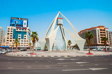 DUBAI, UAE - FEBRUARY 24, 2019: Deira Clock Tower is a landmark located in Deira region of Dubai in UAE