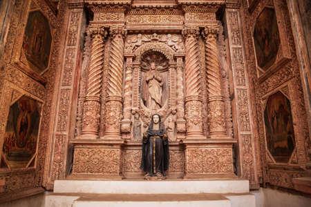 GOA, INDIA - NOVEMBER 14, 2011: Catholic church interior in Old Goa in India