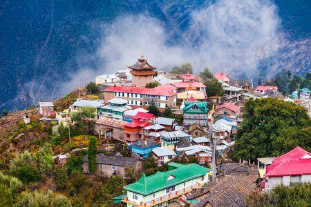 Kalpa and Kinnaur Kailash mountain aerial panoramic view. Kalpa is a small town in the Sutlej river valley, Himachal Pradesh in India Banco de Imagens
