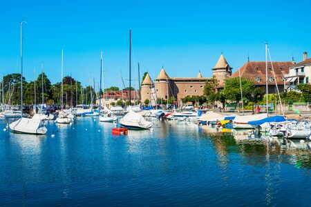 Morges is a town on the shores of Lake Geneva in the canton of Vaud in Switzerland 免版税图像