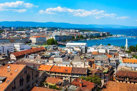Geneva aerial panoramic view. Geneva or Geneve is the second most populous city in Switzerland, located on Lake Geneva. Foto de archivo