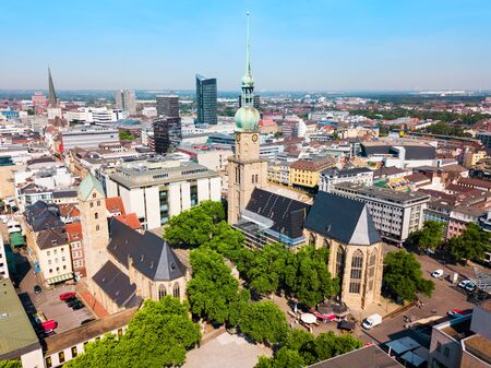Dortmund city centre aerial panoramic view in Germany 免版税图像