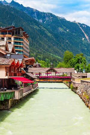 Beauty vintage bridge in Chamonix city centre. Chamonix Mont Blanc is a commune and town in south eastern France. Stock Photo