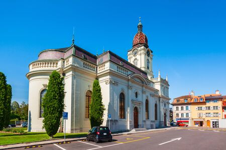 Morges Temple is a Protestant church located in Morges. Morges is a town on the shores of Lake Geneva in the canton of Vaud in Switzerland 版權商用圖片