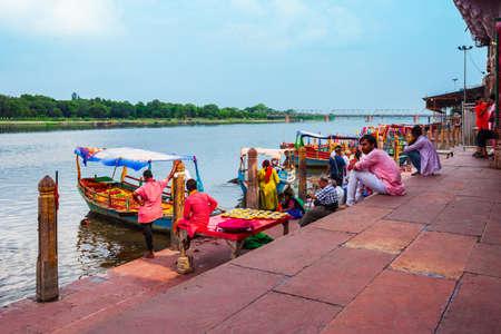 MATHURA, INDIA - SEPTEMBER 20, 2019: Boats at the Vishram Ghat of Yamuna river in Mathura city in India Editorial
