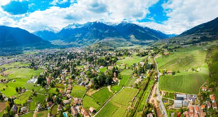 South Tyrol vineyards aerial panoramic view near Meran or Merano town in northern Italy Stock Photo
