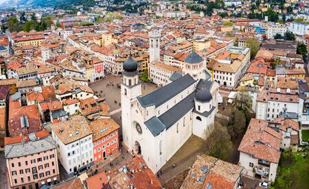 Trento Cathedral or Duomo di Trento aerial panoramic view. Duomo is a roman Catholic cathedral in Trento city in Trentino Alto Adige in Italy. Stock Photo