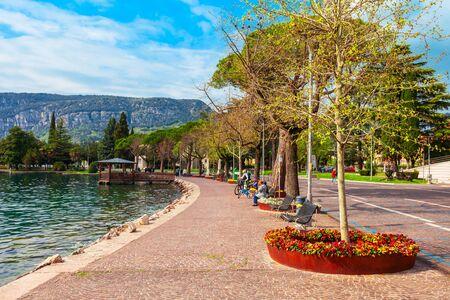 Waterfront in Garda town, located on the shore of Lake Garda in Verona province in Veneto, Italy