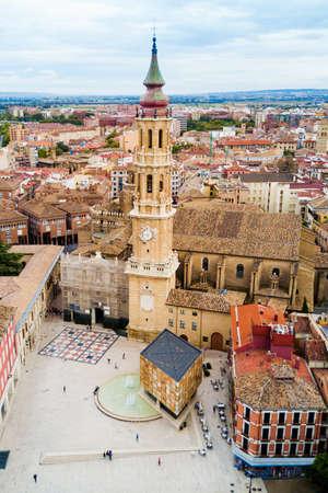 Cathedral of the Savior of Zaragoza or Catedral del Salvador is a Roman Catholic church in Zaragoza, Aragon region of Spain Stock Photo