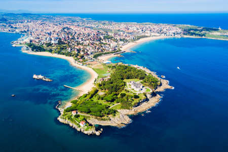 Santander city aerial panoramic view. Santander is the capital of the Cantabria region in Spain Standard-Bild
